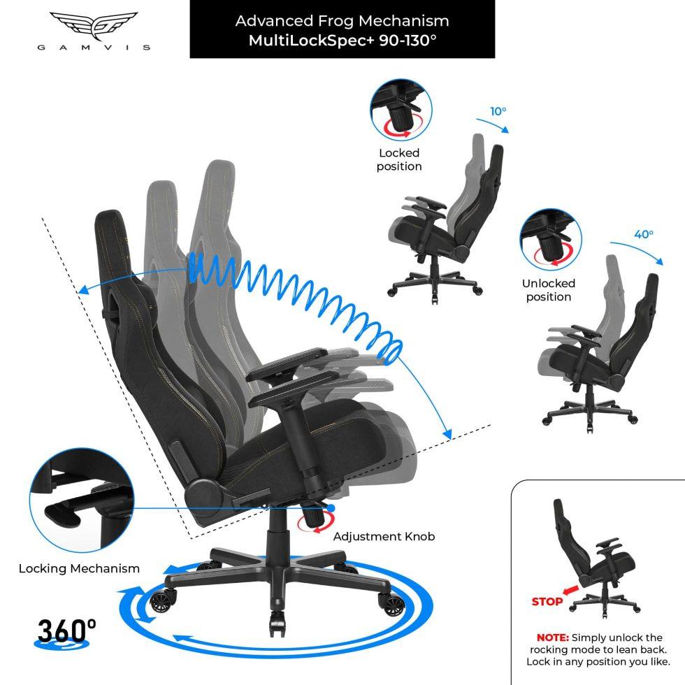 Gamvis ELITE 2.0 XL Fabric Gaming Chair – Black/Royal Gold
