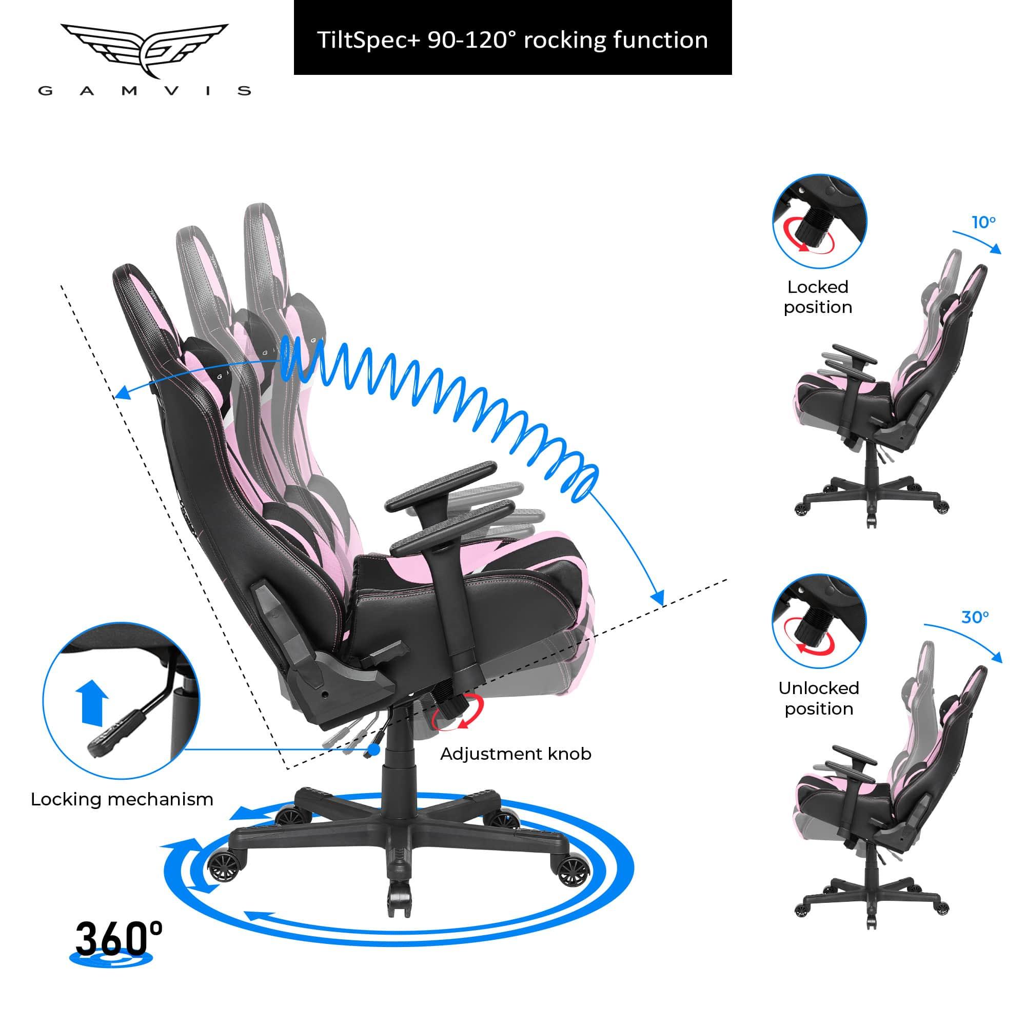 Gamvis Furioso Ladies Fabric Gaming Chair Black Pink White Gamvis Gaming Chairs