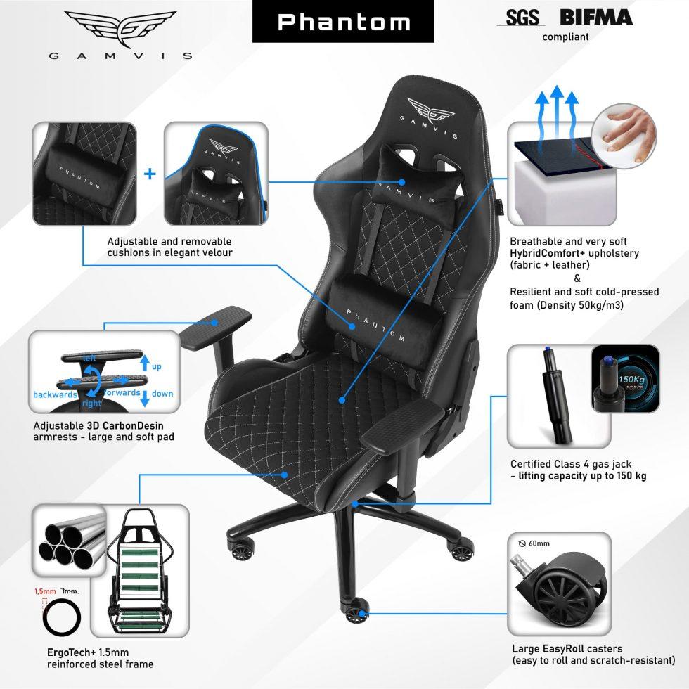 Gamvis Phantom Gaming Chair Black Black Fabric