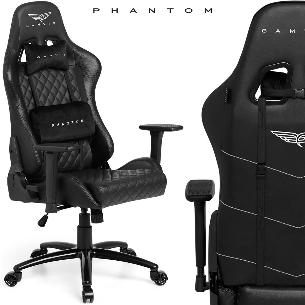 Gamvis phantom gaming chair quilted leather black