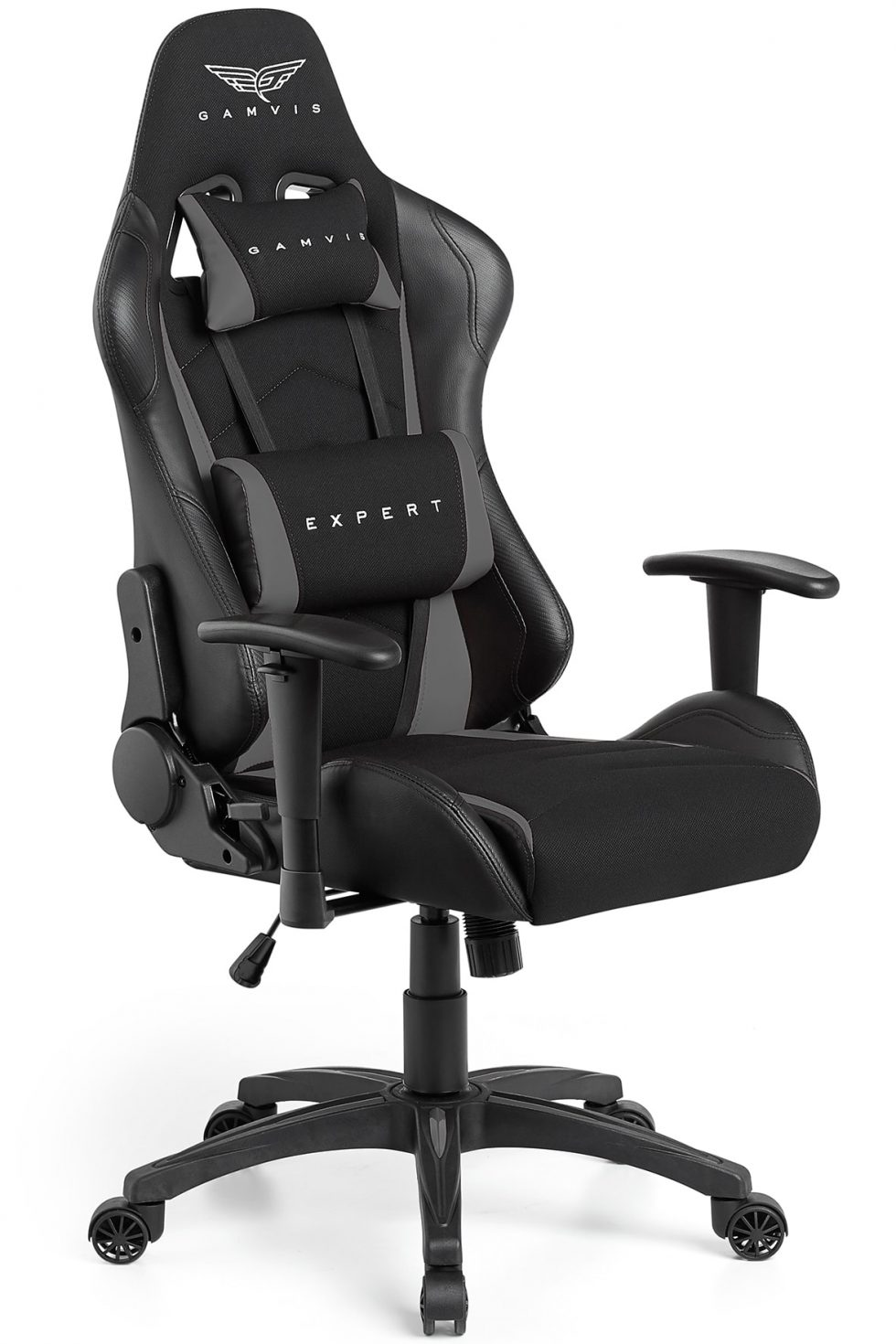 Gamvis Expert Gaming Chair Black Grey Fabric